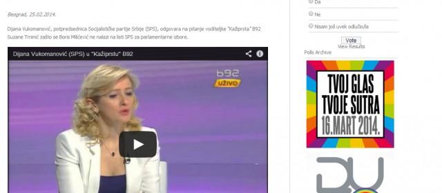 Predizborna kampanja 2014 – Dijana Vukomanović o tome zašto se Boris Milićević ne nalazi na listi SPS