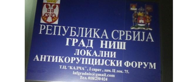 LAF Niš onemogućen da realizuje meru iz lokalnog antikorupcijskog dokumenta
