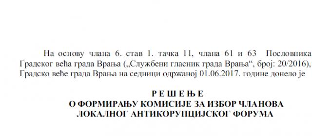 Bez predstavnika izvršne i zakonodavne  vlasti u procesu izbora članova antikorupcijskog tela u Vranju